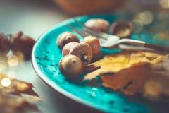 thanksgiving Πίνακας γευμάτων διακοπών που εξυπηρετείται, διακοσμημένος με τα φύλλα φθινοπώρου στοκ εικόνα με δικαίωμα ελεύθερης χρήσης