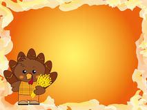 Thanksgiving. Illustration for thanksgiving with turkey  and ears of corn Stock Image