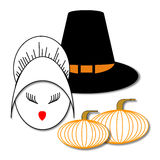 Thanksgiving. Girl's face in a female Pilgrim's bonnet next to a male Pilgrim's hat and two pumpkins Stock Photos