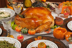 Thanksgiving. Celebration and dinner with a delicious turkey