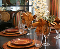 Thanksgiving. Dining room table elegantly set for Thanksgiving Royalty Free Stock Images