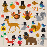 Thanksgiving animals clip art Royalty Free Stock Images