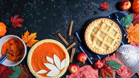 Free Thanksgiving Apple And Pumpkin Pies On Dark Marble Background. Stock Photography - 159300762