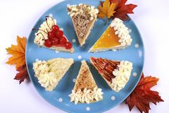 Pieces of Thanksgiving pies. stock photo