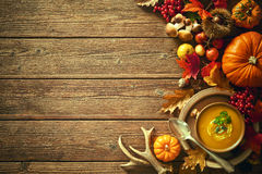 Thanksgiving autumn background with pumpkin soup Royalty Free Stock Photos