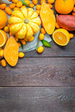 Thanksgiving Autumn Background, Variety of Orange Fruits and Vegetables on Dark Wooden Background with Free Space for Text Stock Images