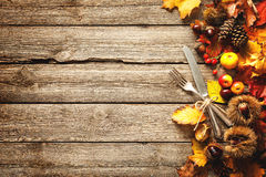 Thanksgiving autumn background with the vintage silverware stock photos