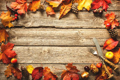 Thanksgiving autumn background with the vintage silverware Stock Images