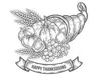 Thanksgiving autumn cornucopia festival badge. Monochrome vintage engraving. Fresh organic vegetables, wheat and fruits sign isolated on white background Royalty Free Stock Images