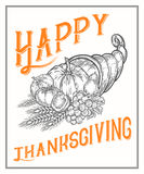 Thanksgiving autumn cornucopia festival poster, banner. Monochrome vintage engraving vector illustration