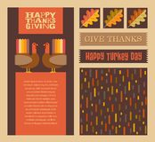 Thanksgiving and Autumn design elements with coordinating background pattern. Abstract turkeys, text designs, and nature. For greeting cards, web pages vector illustration