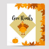 Thanksgiving autumn, fall background with turkey and pumpkin Royalty Free Stock Image