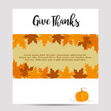 Thanksgiving autumn, fall background with yellow foliage and pumpkin Stock Photos