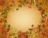 Thanksgiving Autumn Fall leaves Border. Illustration composition for Thanksgiving, autumn, fall,  invitation, border, frame  or background with copy space Stock Images