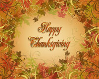 Thanksgiving Autumn Fall leaves Border. Illustration composition for Thanksgiving, autumn, fall,  invitation, border, frame  or background with 3D text Royalty Free Stock Photography