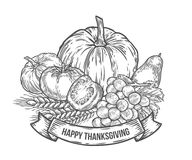 Thanksgiving autumn festival badge. Monochrome vintage engraving fresh organic. Vegetables, wheat and fruits sign isolated on white background. Sketch vector Royalty Free Stock Photo
