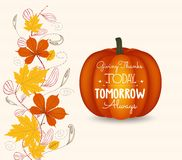 Thanksgiving. Autumn leaf and pumpkin background Stock Images