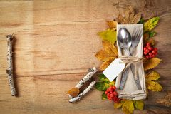 Thanksgiving autumn place setting royalty free stock image