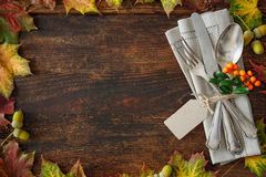 Thanksgiving autumn place setting Stock Image