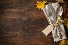 Thanksgiving autumn place setting Royalty Free Stock Photos