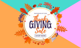 Thanksgiving autumn fall sale poster discount for September shopping promo   Stock Images