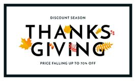 Thanksgiving autumn sale poster fall discount promo shop offer vector banner. Thanksgiving autumn sale poster for fall season discount promo offer and 70 percent vector illustration