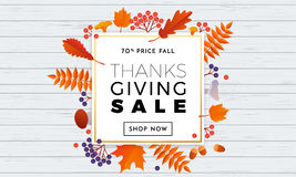Thanksgiving autumn sale text poster for September shopping promo   Stock Images