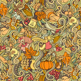 Thanksgiving autumn symbols, food and drinks. Cartoon vector hand-drawn Doodles on the subject of Thanksgiving autumn symbols, food and drinks seamless pattern Royalty Free Stock Photo
