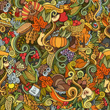 Thanksgiving autumn symbols, food and drinks. Cartoon vector hand-drawn Doodles on the subject of Thanksgiving autumn symbols, food and drinks seamless pattern Stock Images