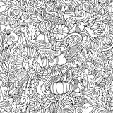 Thanksgiving autumn symbols, food and drinks. Cartoon vector hand-drawn Doodles on the subject of Thanksgiving autumn symbols, food and drinks seamless pattern Stock Image