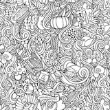Thanksgiving autumn symbols, food and drinks. Cartoon vector hand-drawn Doodles on the subject of Thanksgiving autumn symbols, food and drinks seamless pattern Stock Photo