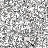 Thanksgiving autumn symbols, food and drinks. Cartoon vector hand-drawn Doodles on the subject of Thanksgiving autumn symbols, food and drinks seamless pattern Royalty Free Stock Images