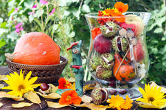 Thanksgiving. Autumnal decoration with flowers and fruits Royalty Free Stock Photography