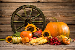 Thanksgiving. Autumnal still life with old wooden wheel Royalty Free Stock Photos