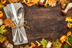 Thanksgiving autumnal table place setting Stock Images