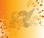 Thanksgiving Background. With autumn colors, leaves and cornucopia Stock Photo