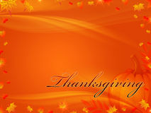 Thanksgiving background. Orange background with frame of autumn leaves with text Thanksgiving Stock Photos