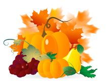 Thanksgiving background. Abstract background with pumpkins and autumn leaves Stock Image
