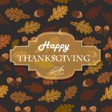 Thanksgiving background with acorns, leaves and the inscription in the middle Royalty Free Stock Photography