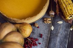 Thanksgiving background: Apples, pumpkins and fallen leaves stock photos