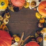 Thanksgiving background with autumn dried flowers, pumpkins and fall leaves on the old wooden background. Abundant harvest concept royalty free stock photography