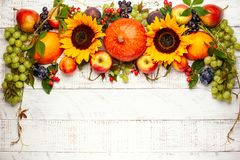 Thanksgiving background with autumn pumpkins, fruits and flowers. Thanksgiving background with autumn pumpkins, fruits and fall leaves on wooden table. Top view royalty free stock photos