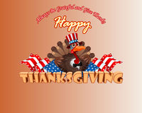 Thanksgiving background with cartoon turkey wearing a Uncle Sam hat Royalty Free Stock Photography