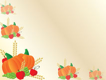 Thanksgiving background frame with pumpkins. And apples and grapes Royalty Free Stock Photos