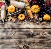 Thanksgiving background with fruit and vegetable on wood in autumn and Fall harvest season stock photos