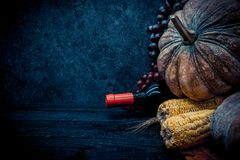Thanksgiving background with fruit and vegetable on wood in autumn season. Copy space for text Royalty Free Stock Image