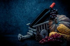 Thanksgiving background with fruit and vegetable on wood in autumn season. Copy space for text Royalty Free Stock Photo