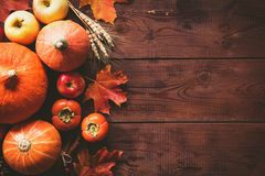 Thanksgiving background with pumpkins, apples and fallen leaves on wooden table. Thanksgiving background: pumpkins, apples, wheat, maple leaves, cones and spices Royalty Free Stock Image