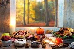 Thanksgiving background with window space Royalty Free Stock Photos