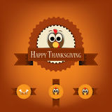 Thanksgiving badges with ribbons and turkey. Royalty Free Stock Image